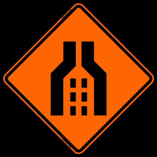 Double Merge (Symbol) Work Zone Warning Sign
