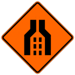 Double Merge (Symbol) Work Zone Warning Sign