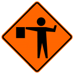 Flagger Symbol W20-7a Work Zone Sign