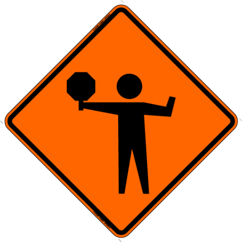Flagger (Symbol) w/ Paddle Work Zone Sign