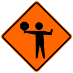 Flagger (Symbol) w/ Paddle Work Zone Sign