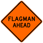 Flagman Ahead Work Zone Sign