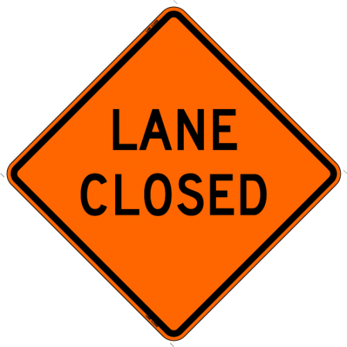 Lane Closed Work Zone Sign