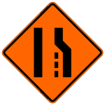 Merge Left (Symbol) W4-1, W4-5 Work Zone Warning Sign