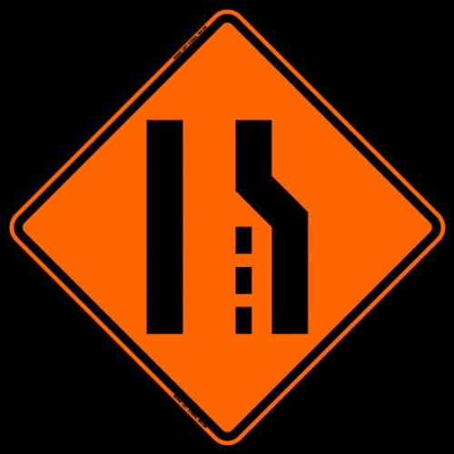 Merge Left (Symbol) W4-1, W4-5 Work Zone Warning Sign