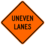 Uneven Lanes W8-11 Work Zone Sign