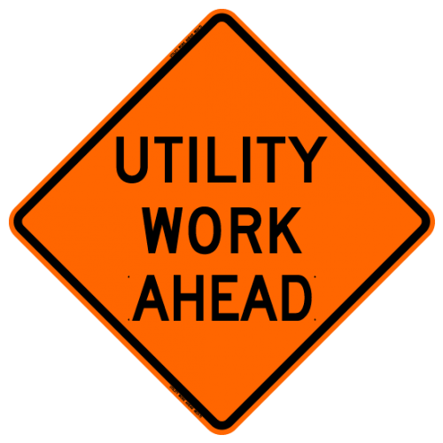 Utility Work Ahead W21-7 Work Zone Sign
